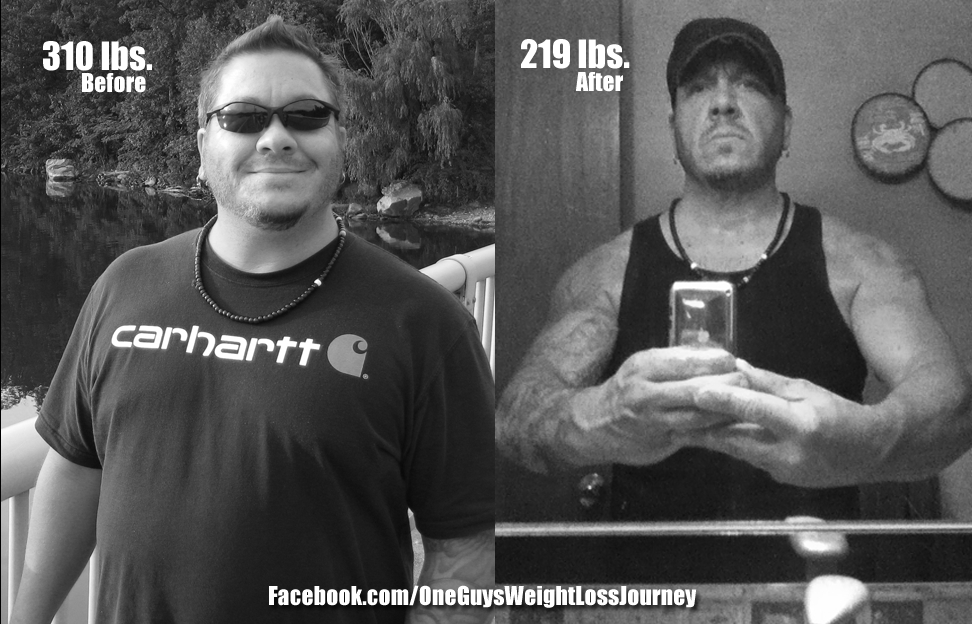 "On the left, me at 310 lbs. A failed ""diet plan"" – On the right, finally doing it right!"